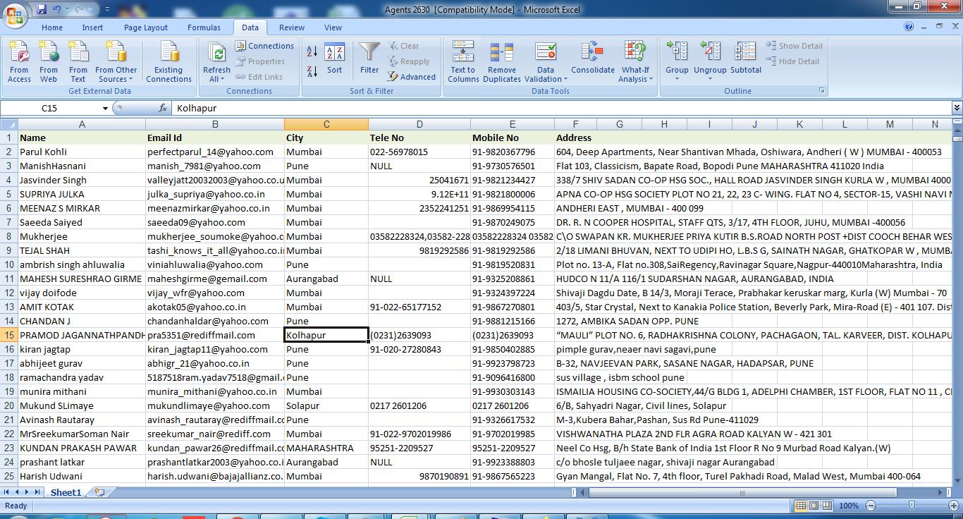 Agents Email Database India