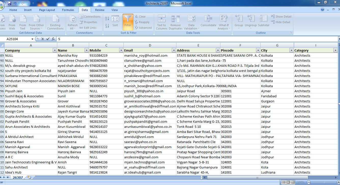 Architect / interior designers email database india